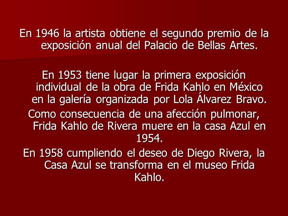En 1946 la artista obtiene el segundo premio de la exposición anual del Palacio de Bellas Artes.