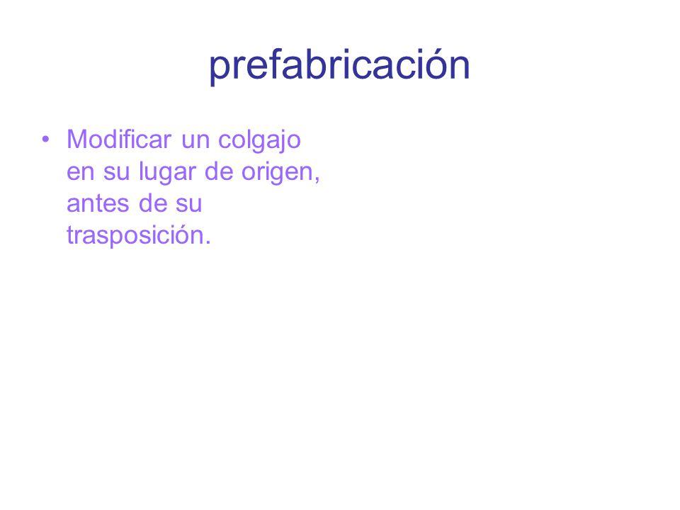 prefabricación Modificar un colgajo en su lugar de origen, antes de su trasposición.