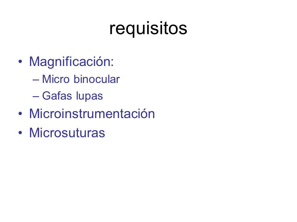 requisitos Magnificación: Microinstrumentación Microsuturas