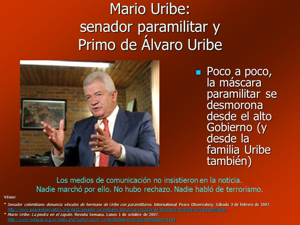 Mario Uribe: senador paramilitar y Primo de Álvaro Uribe