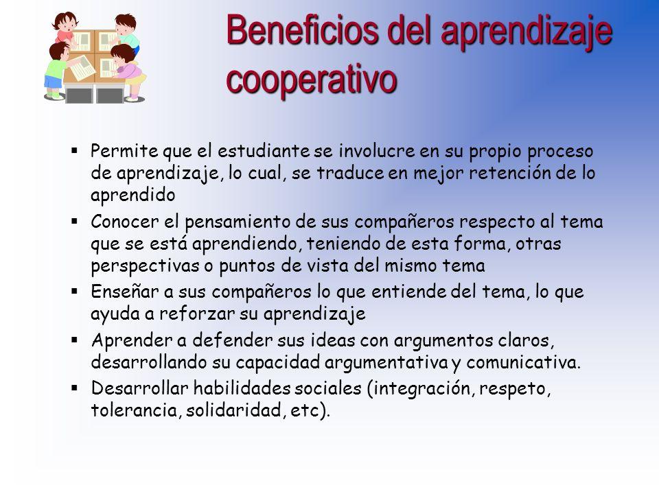Beneficios del aprendizaje cooperativo