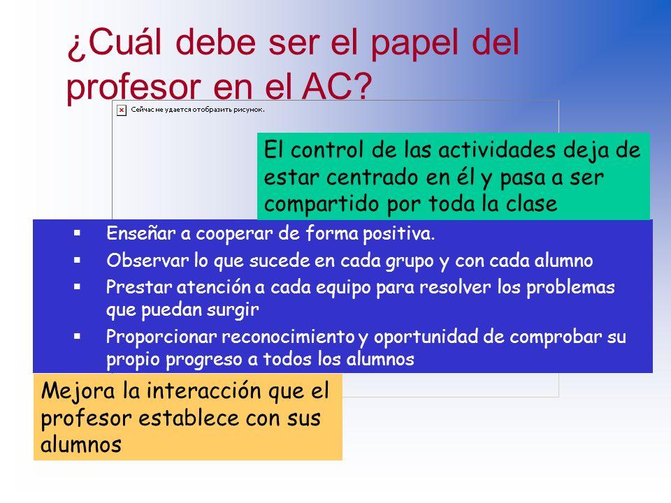 ¿Cuál debe ser el papel del profesor en el AC