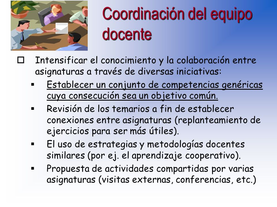 Coordinación del equipo docente