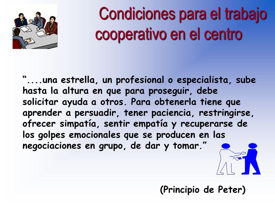 Condiciones para el trabajo cooperativo en el centro