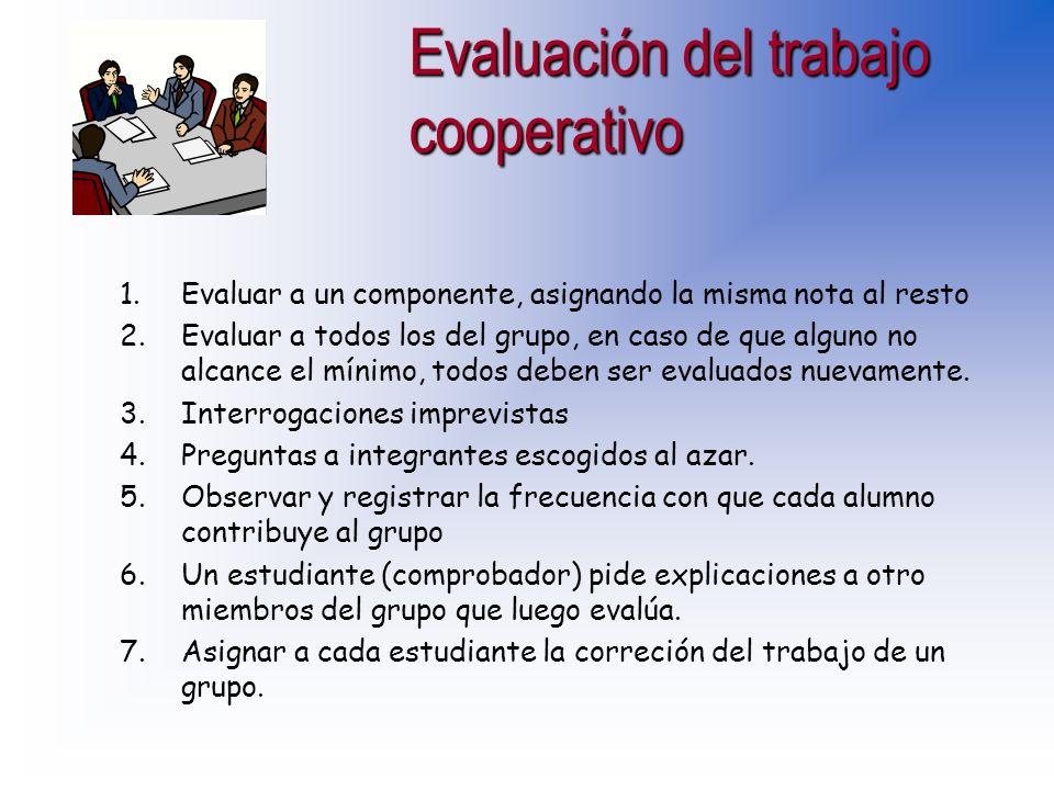 Evaluación del trabajo cooperativo