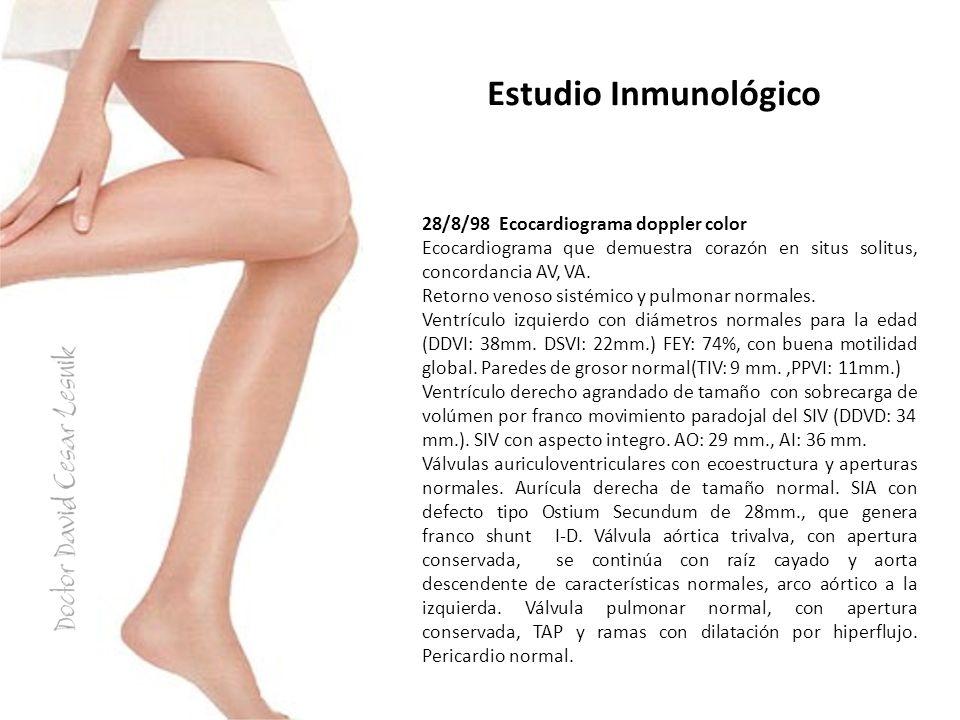 Estudio Inmunológico 28/8/98 Ecocardiograma doppler color