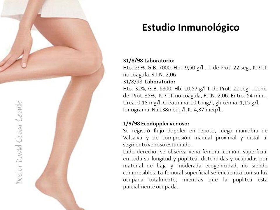 Estudio Inmunológico 31/8/98 Laboratorio: