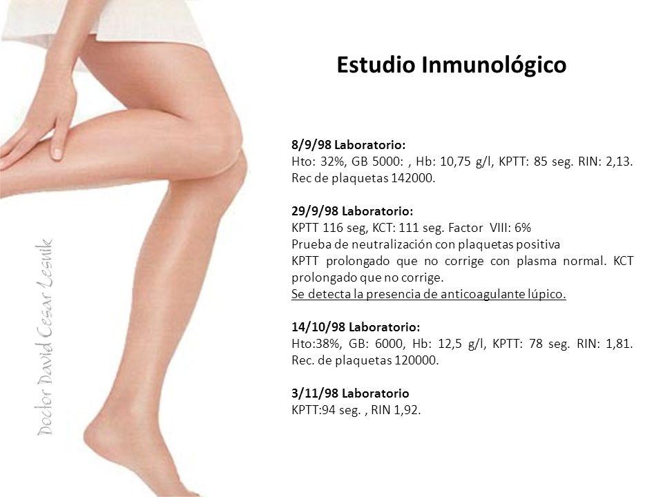 Estudio Inmunológico 8/9/98 Laboratorio: