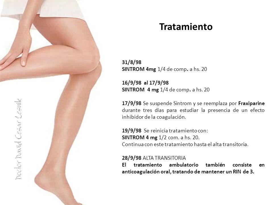 Tratamiento 31/8/98 SINTROM 4mg 1/4 de comp. a hs. 20