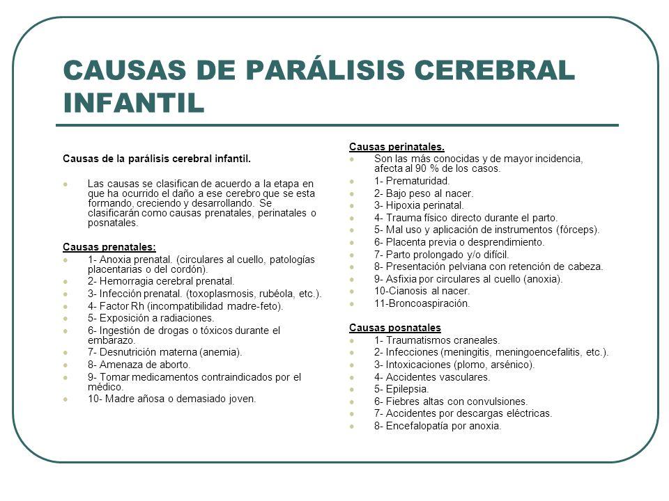 CAUSAS DE PARÁLISIS CEREBRAL INFANTIL
