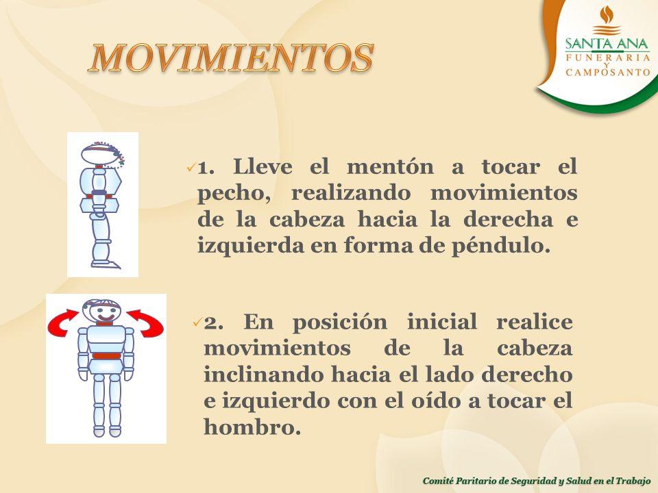 MOVIMIENTOS 1. Lleve el mentón a tocar el pecho, realizando movimientos de la cabeza hacia la derecha e izquierda en forma de péndulo.