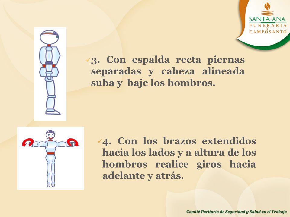 3. Con espalda recta piernas separadas y cabeza alineada suba y baje los hombros.