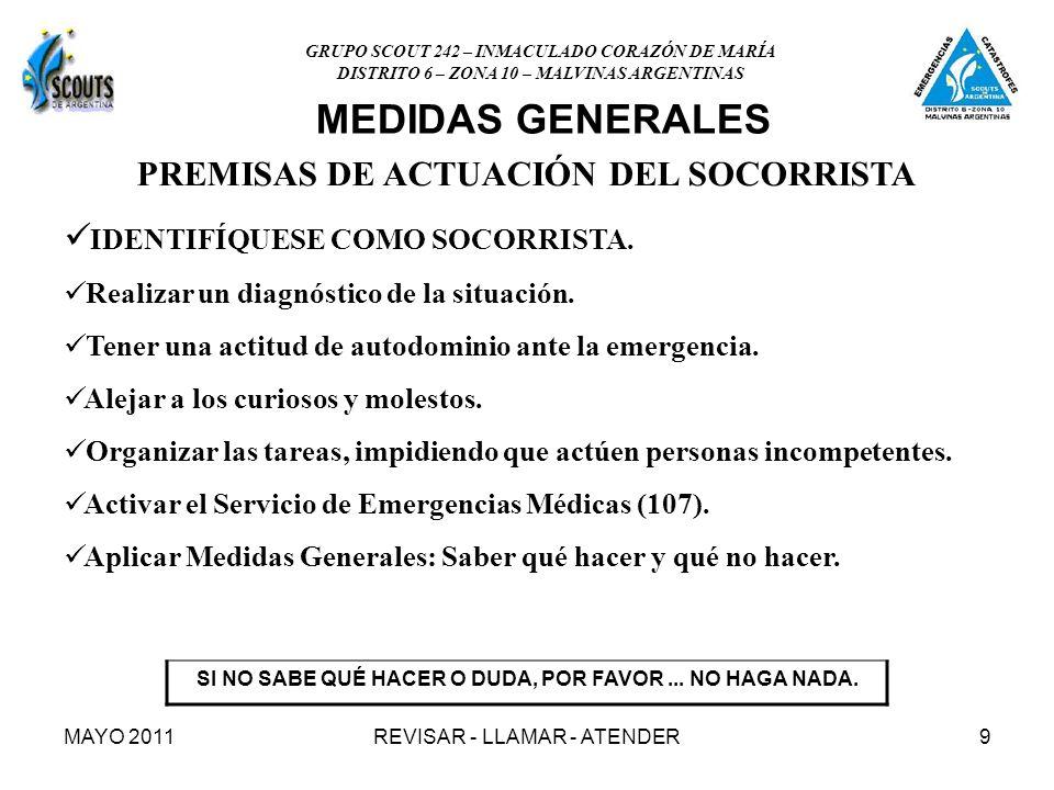 MEDIDAS GENERALES PREMISAS DE ACTUACIÓN DEL SOCORRISTA