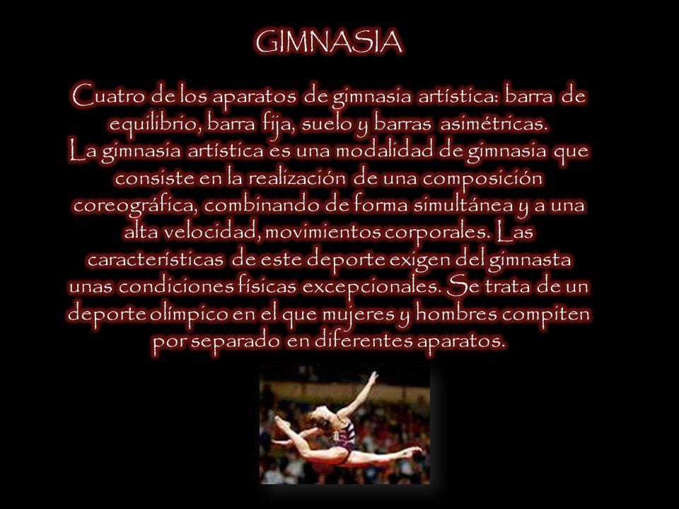 GIMNASIA Cuatro de los aparatos de gimnasia artística: barra de equilibrio, barra fija, suelo y barras asimétricas.