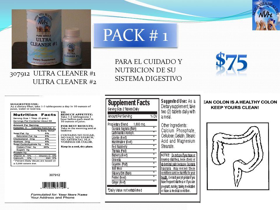 $75 PACK # 1 PARA EL CUIDADO Y NUTRICION DE SU SISTEMA DIGESTIVO