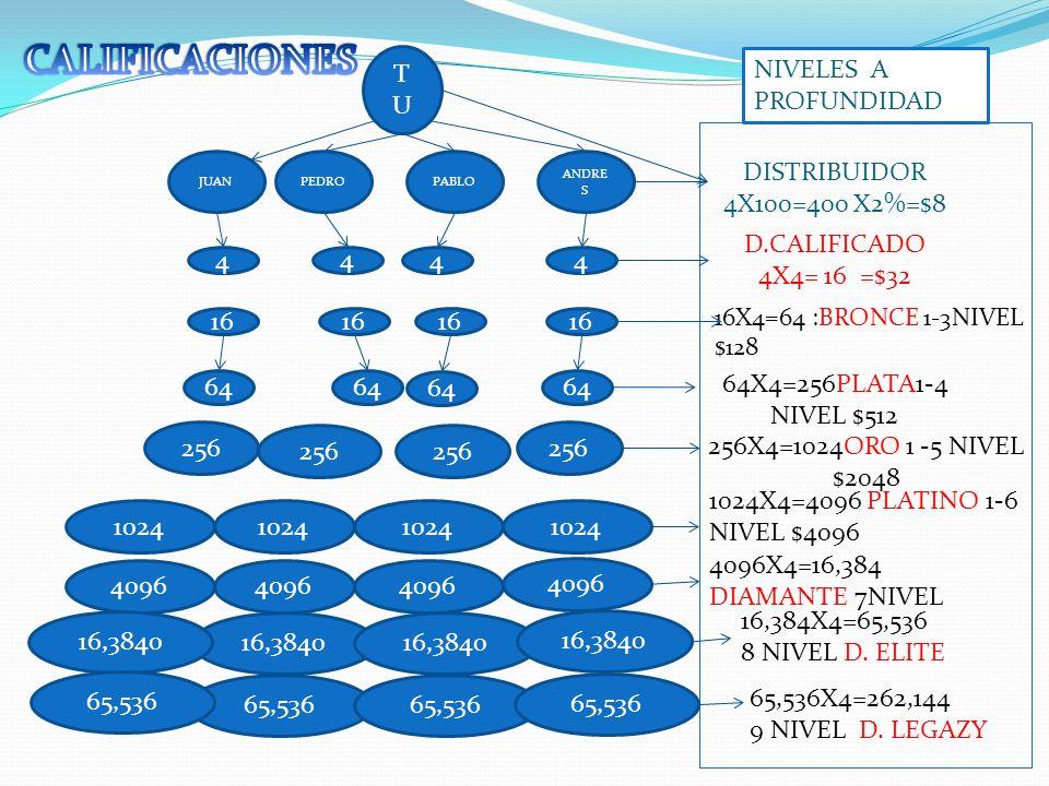 CALIFICACIONES TU NIVELES A PROFUNDIDAD DISTRIBUIDOR 4X100=400 X2%=$8