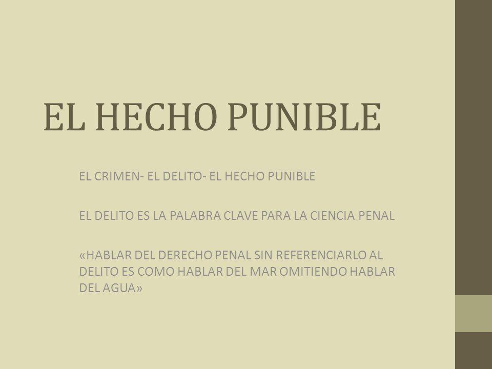 EL HECHO PUNIBLE EL CRIMEN- EL DELITO- EL HECHO PUNIBLE