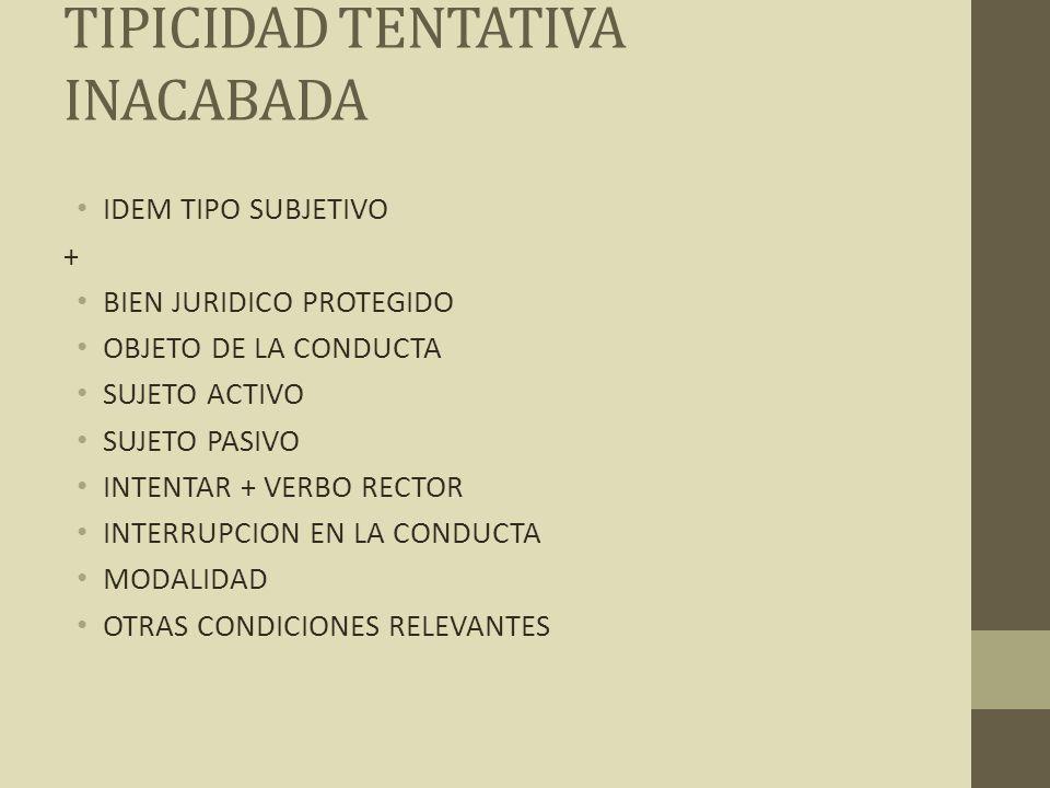 TIPICIDAD TENTATIVA INACABADA