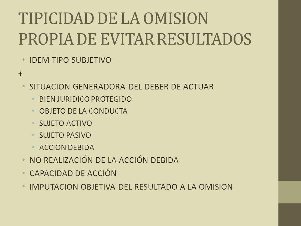 TIPICIDAD DE LA OMISION PROPIA DE EVITAR RESULTADOS
