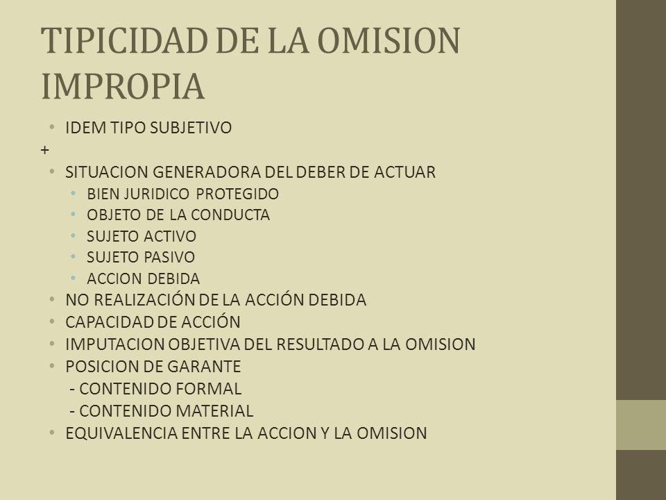 TIPICIDAD DE LA OMISION IMPROPIA