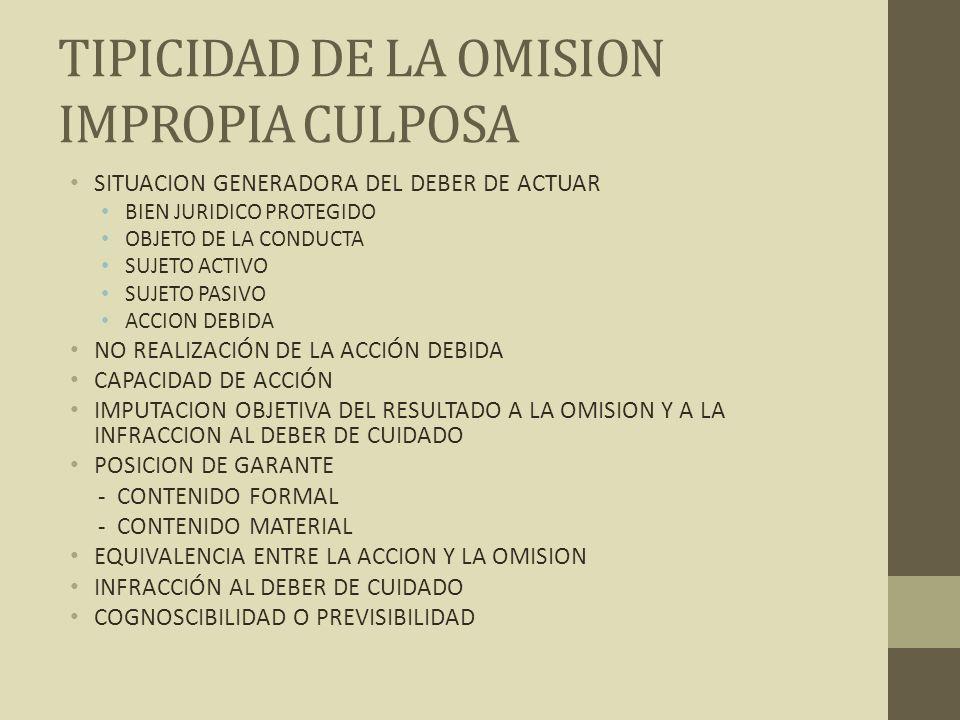 TIPICIDAD DE LA OMISION IMPROPIA CULPOSA