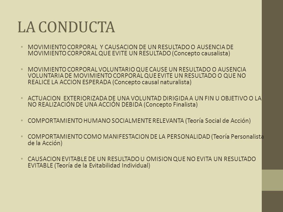 LA CONDUCTA MOVIMIENTO CORPORAL Y CAUSACION DE UN RESULTADO O AUSENCIA DE MOVIMIENTO CORPORAL QUE EVITE UN RESULTADO (Concepto causalista)