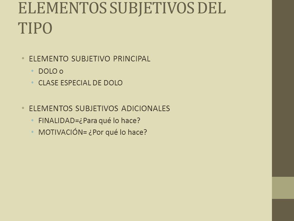 ELEMENTOS SUBJETIVOS DEL TIPO