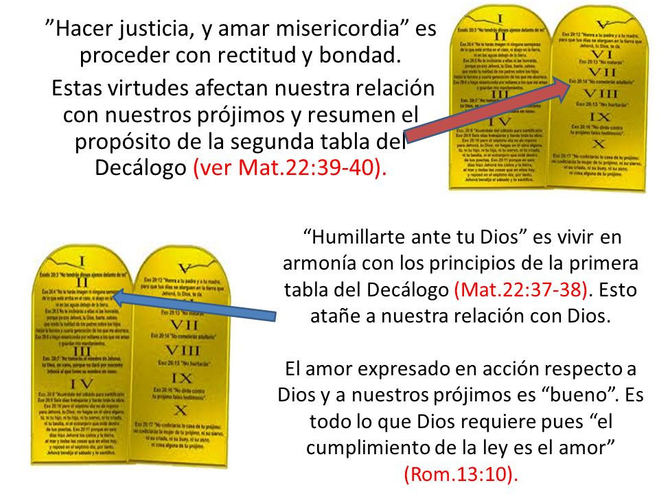 Hacer justicia, y amar misericordia es proceder con rectitud y bondad. Estas virtudes afectan nuestra relación con nuestros prójimos y resumen el propósito de la segunda tabla del Decálogo (ver Mat.22:39-40).