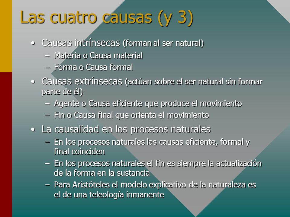 Las cuatro causas (y 3) Causas intrínsecas (forman al ser natural)