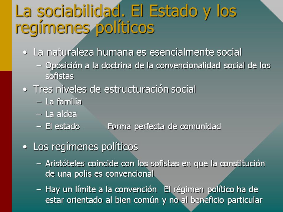 La sociabilidad. El Estado y los regímenes políticos