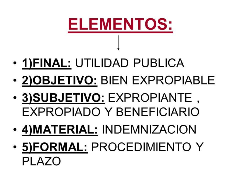 ELEMENTOS: 1)FINAL: UTILIDAD PUBLICA 2)OBJETIVO: BIEN EXPROPIABLE