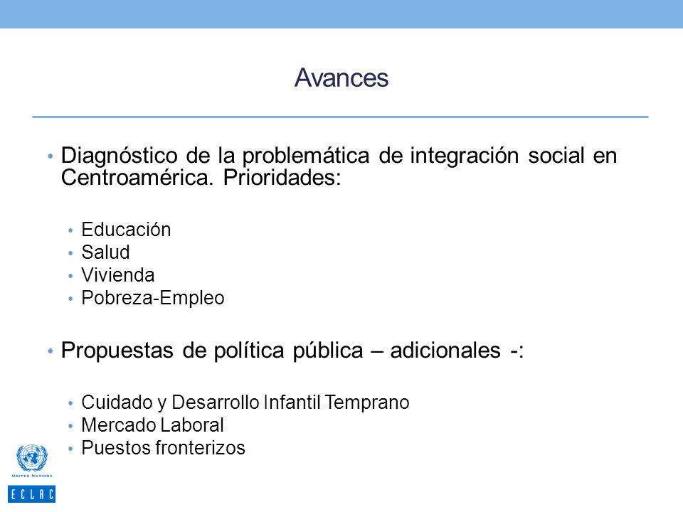 Avances Diagnóstico de la problemática de integración social en Centroamérica. Prioridades: Educación.