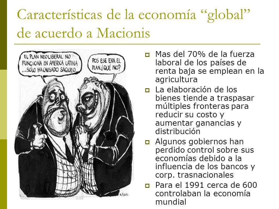 Características de la economía global de acuerdo a Macionis