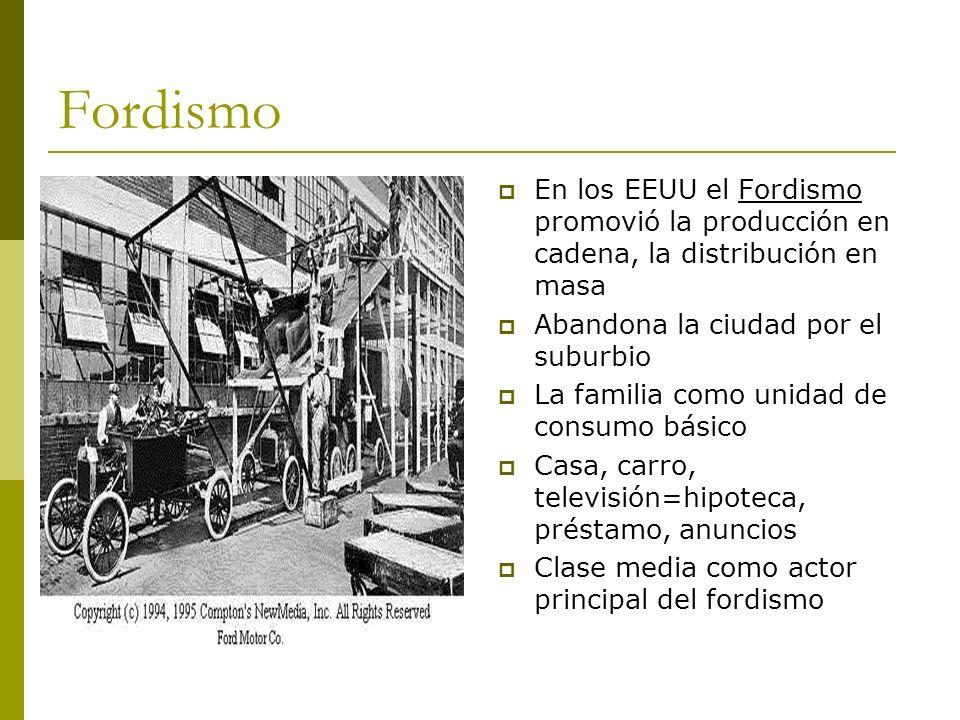 Fordismo En los EEUU el Fordismo promovió la producción en cadena, la distribución en masa. Abandona la ciudad por el suburbio.