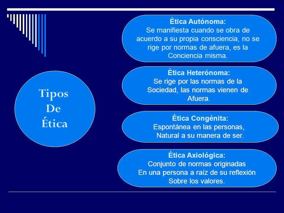 Tipos De Ética Ética Autónoma: Se manifiesta cuando se obra de