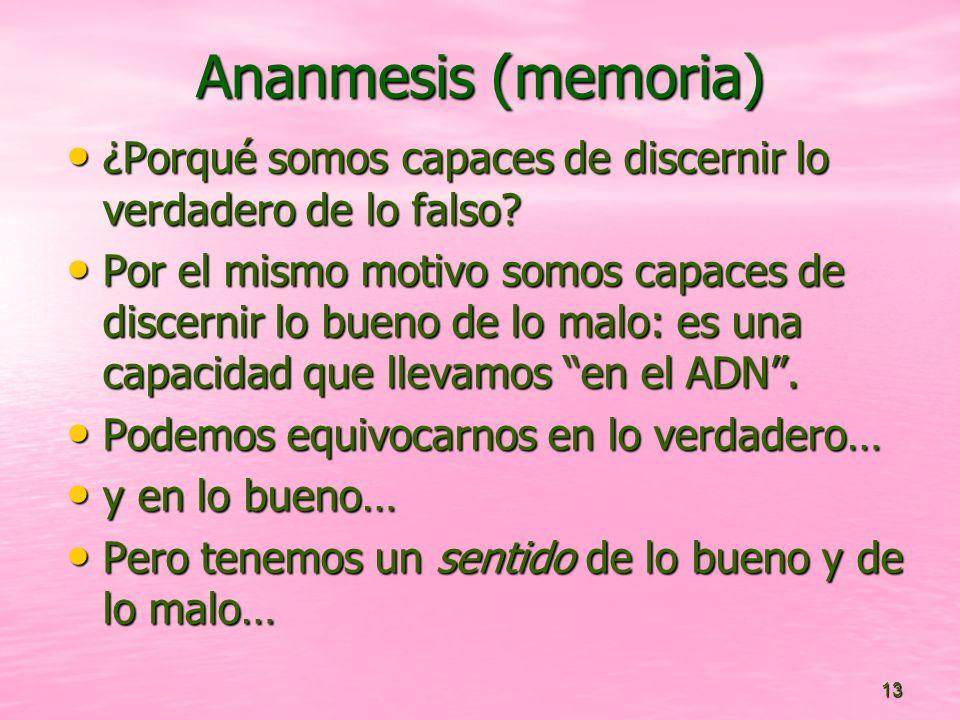 Ananmesis (memoria) ¿Porqué somos capaces de discernir lo verdadero de lo falso