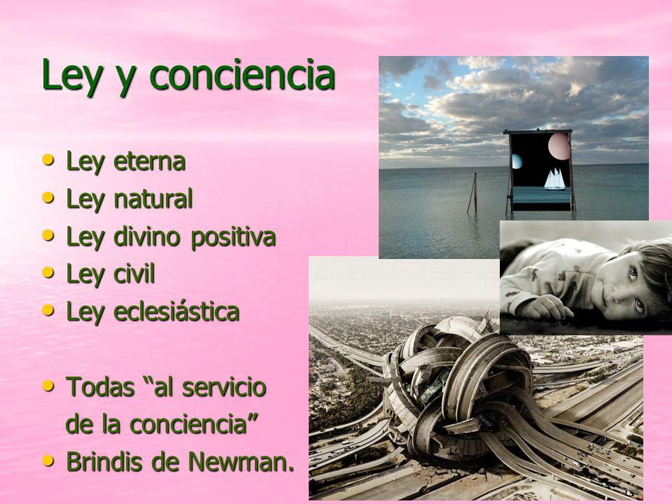 Ley y conciencia Ley eterna Ley natural Ley divino positiva Ley civil