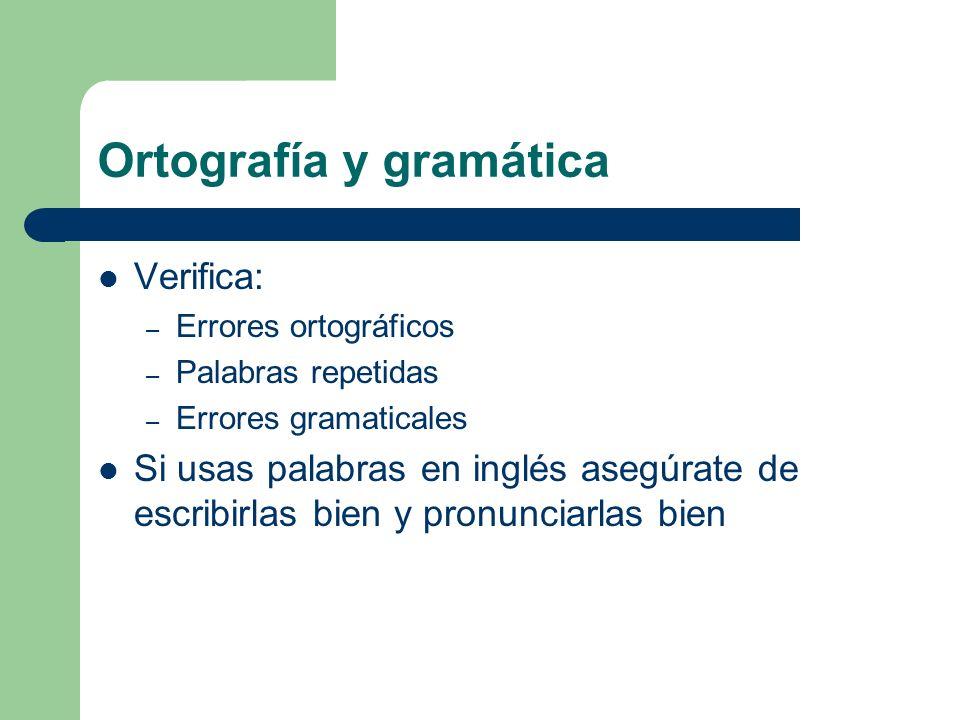 Ortografía y gramática