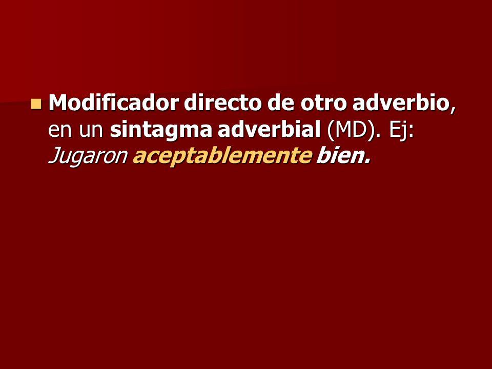 Modificador directo de otro adverbio, en un sintagma adverbial (MD)