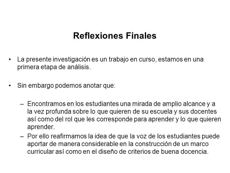Reflexiones Finales La presente investigación es un trabajo en curso, estamos en una primera etapa de análisis.