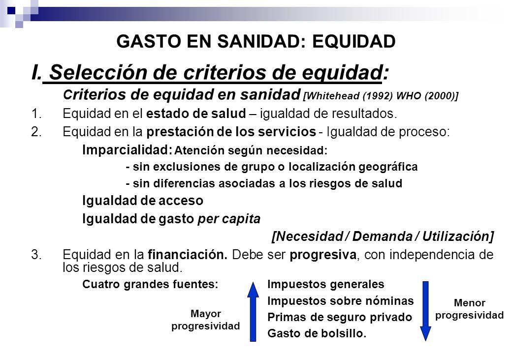 GASTO EN SANIDAD: EQUIDAD