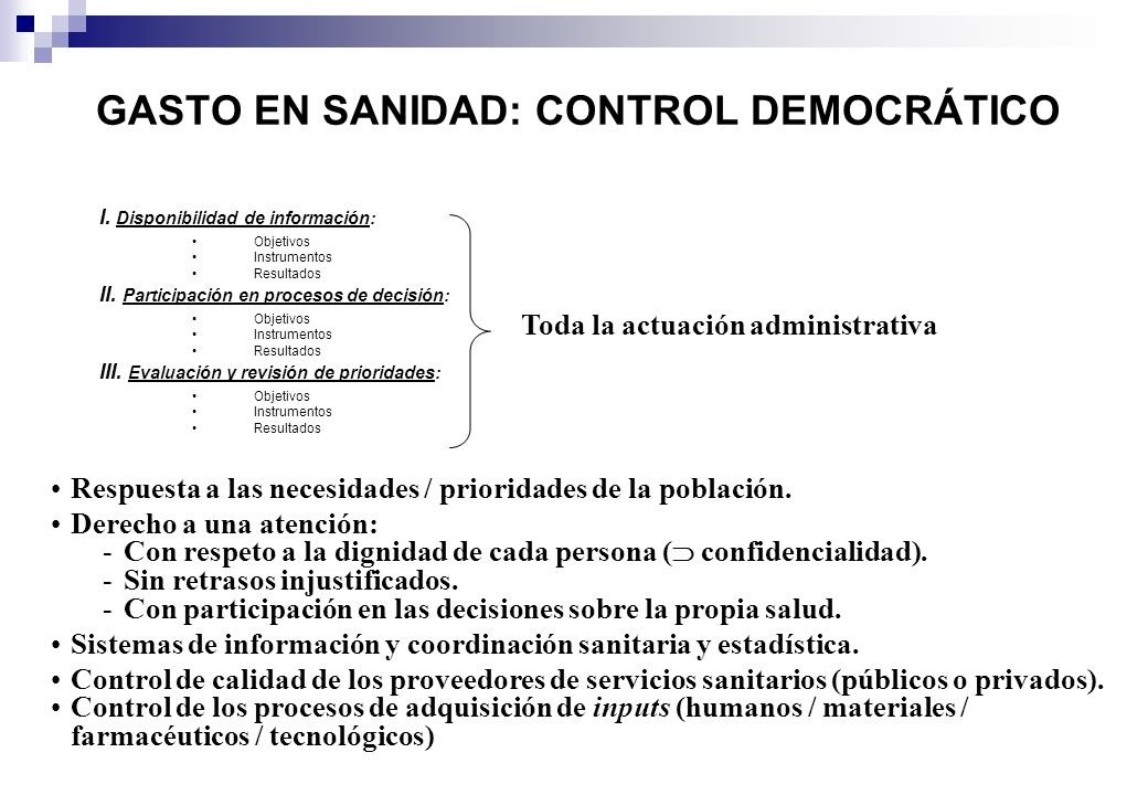 GASTO EN SANIDAD: CONTROL DEMOCRÁTICO