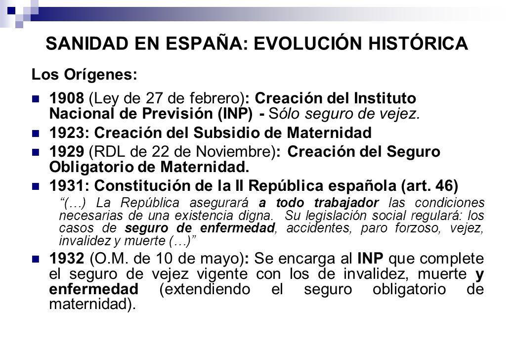 SANIDAD EN ESPAÑA: EVOLUCIÓN HISTÓRICA