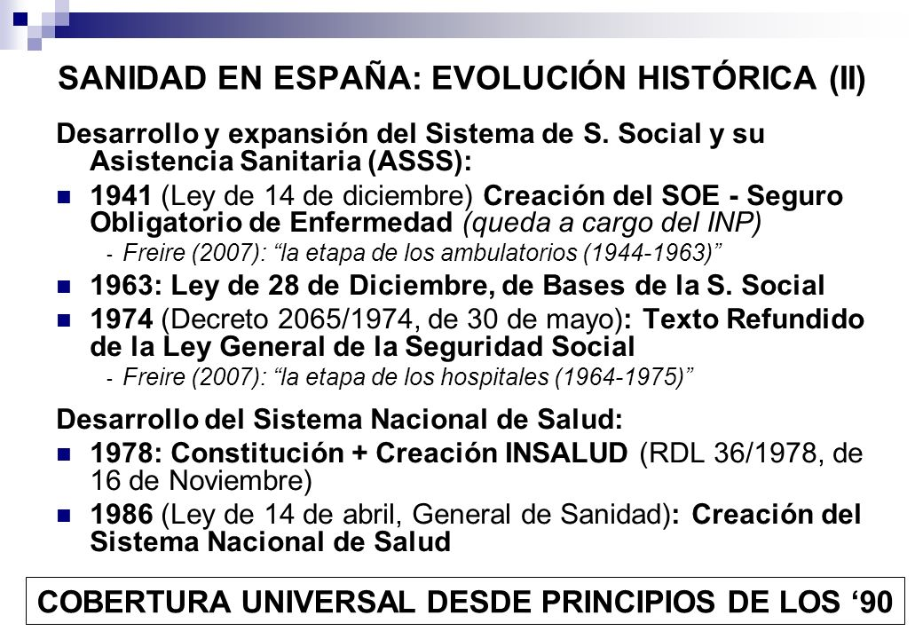 SANIDAD EN ESPAÑA: EVOLUCIÓN HISTÓRICA (II)