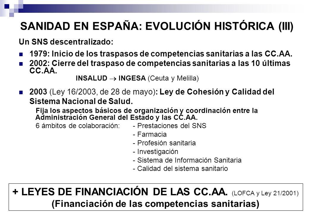 SANIDAD EN ESPAÑA: EVOLUCIÓN HISTÓRICA (III)