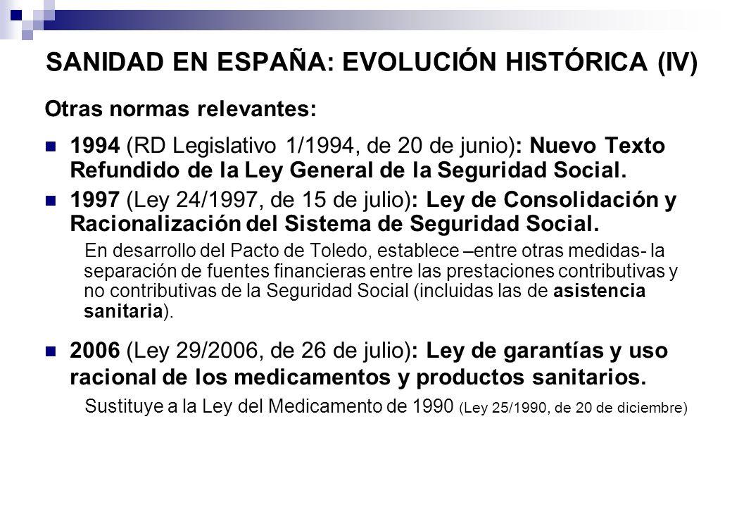 SANIDAD EN ESPAÑA: EVOLUCIÓN HISTÓRICA (IV)