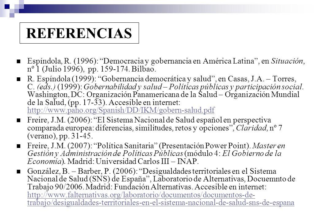 REFERENCIAS Espíndola, R. (1996): Democracia y gobernancia en América Latina , en Situación, nº 1 (Julio 1996), pp. 159-174. Bilbao.