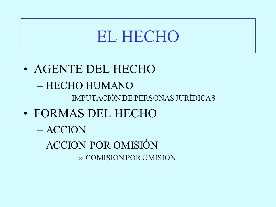 EL HECHO AGENTE DEL HECHO FORMAS DEL HECHO HECHO HUMANO ACCION