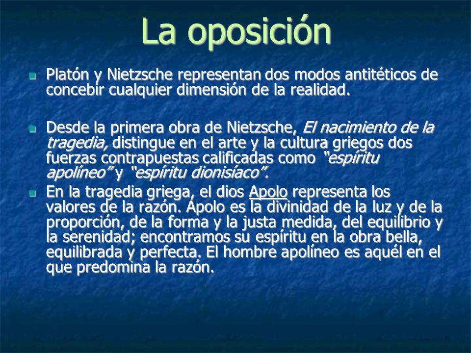 La oposición Platón y Nietzsche representan dos modos antitéticos de concebir cualquier dimensión de la realidad.