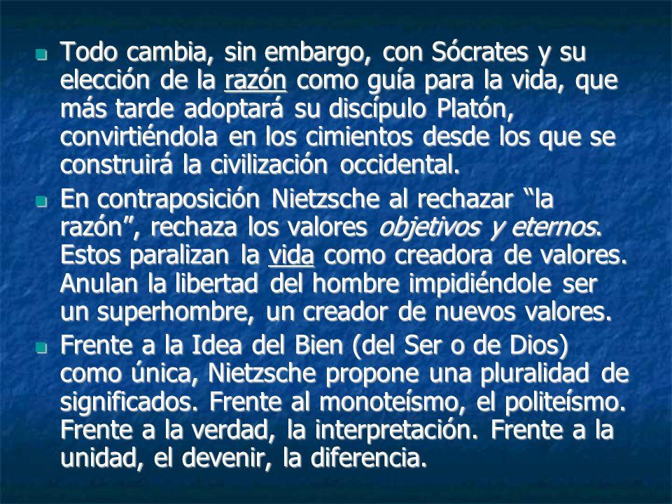 Todo cambia, sin embargo, con Sócrates y su elección de la razón como guía para la vida, que más tarde adoptará su discípulo Platón, convirtiéndola en los cimientos desde los que se construirá la civilización occidental.
